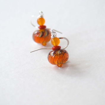 Orange Earrings, Lampwork Glass Earrings, Beaded Earrings, Bright Colorful Earrings
