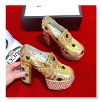 Top quality 2020 office Trendsetter Gucci Fashion Women Heels Sandal Shoes Pearl brick gold heel
