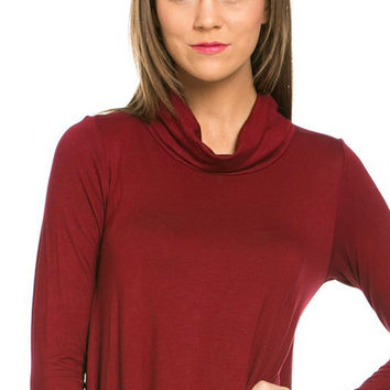Women Solid Plain Turtleneck Long Sleeve A-Line Flare Draped Jersey Tunic Top