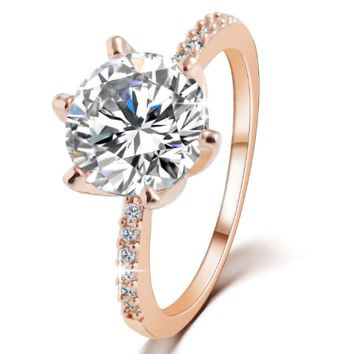 Simple trendy crystal zircon ring fashion temperament real gold electroplating gem ring tail ring