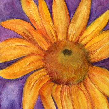 Sunflower Painting Watercolor  Original by SharonFosterArt on Etsy