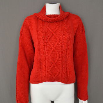 Cozy Oversized Crop Cable Knit Turtleneck Sweater (Small/Indie Brands)