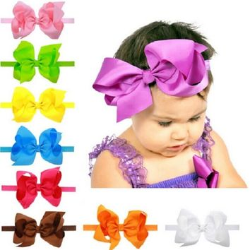 Little girl big bows hair accessories Child headband Elastic hair bands Ribbon bows Kids girl bow headbands 1pc HB145