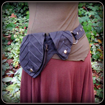Leaf Pocket Belt ~ Utility Belt ~ Black Canvas Fabric ~ Green Man Elf Forest ~ Adjustable from Small to Extra Large ~ unisex Greenman