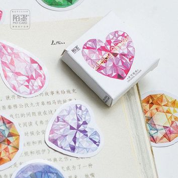 DCCKL72 45pcs/pack Diamond Heart Diary Stickers bookmarks Post iti Planner Scrapbooking Sticky Stationery Escolar School Supplies 2017