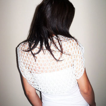 Lace summer wedding bolero shrug / Ivory cashmere silk bolero shrug / Luxurious cashmere silk bridal bolero shrug