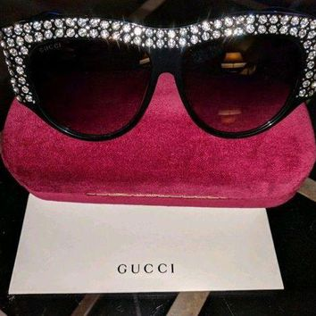 LMFMS6 GUCCI GG0144/S Rhinestone Black Frame Light Lens Sunglasses %100 Authentic