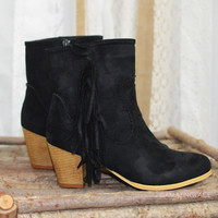 Run This Town Black Fringe Booties