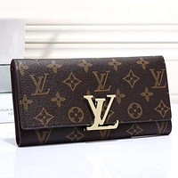 Louis Vuitton LV Buckle plaid Women Leather Purse Wallet H-MYJSY-BB