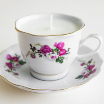 Custom Floral Scented Teacup Candle