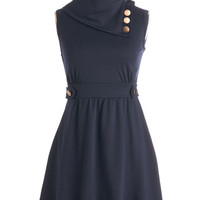 Mid-length Sleeveless A-line Coach Tour Dress in Bleu