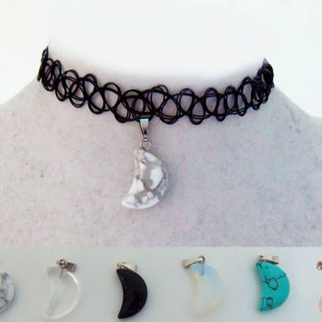 Moon crystal choker, crystal moon necklace, tattoo choker with moon charm, crystal moon tattoo choker necklace, henna choker, grunge jewelry
