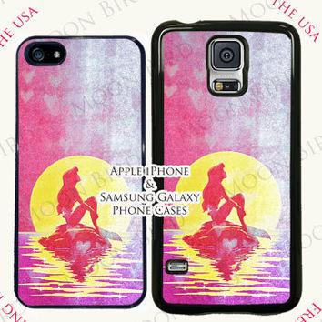Disney Little Mermaid Pink Ariel With the Moon Case For Apple iPhone 4, 4s, 5, 5s, 5c, 6, 6+ Touch 5. Black, White or Clear Phone Case