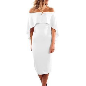 White Luxurious Off Shoulder Batwing Cape Midi Dress