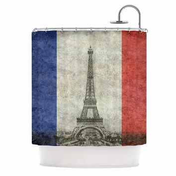 "Bruce Stanfield "" Vintage Paris"" Mixed Media Travel Shower Curtain"