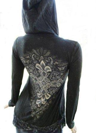 Amazon.com: Vocal Black Crochet Lace Hem Sexy Stones Tattoo Tunic Hoodie T-shirt Misses: Clothing
