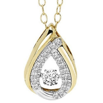 14K Two-Tone Yellow and White Gold Pear Shaped Rhythm of Love 1/5cttw Diamond Necklace