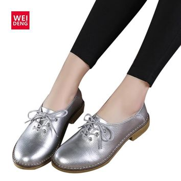 WeiDeng 2017 Fashion Genuine Leather Women Flats Casual Shoes Lace Up Moccasins Sapato