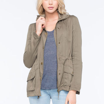 Full Tilt Rayon Womens Anorak Jacket Olive  In Sizes