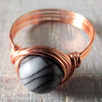 Black Veined Jasper Ring - Copper Wire Ring - Jasper Jewelry - Cobweb Ring - Gothic Ring - Grey Stone Ring - Wire Wrapped Ring - Simple