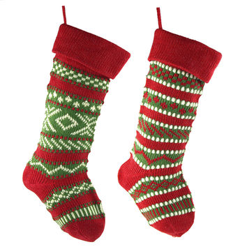 Knitted Yarn Christmas Stockings, Red, 20-Inch, 2-Piece