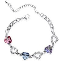 Colorful Heart Swarovski Elements Heart Shaped Crystal Rhodium Plated Bracelet - Purple, Pink, Blue