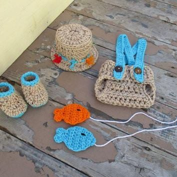 Crochet Newborn Fishing Hat Booties Fish and Diaper Cover Set