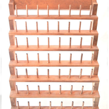 Wooden Spool Rack Wall Sorter for a Sewing or Craft Room, 56 Pegs Deluxe Size, Can Also Hold Keys