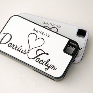 Two Personalized Matching Phone Cases for Couples, iPhone 4, 4s, 5, 5s, 5c, 6, 6+ Case, Samsung Galaxy S4, S5 Case