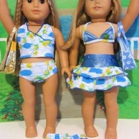 Swimsuit Set Bikini BATHING SUIT for American Girl Doll - 7 Pieces INCLUDES Ball, TOWEL, BAGS !!