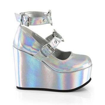 "Demonia Holographic Mary Jane Platform 5"" Wedge"