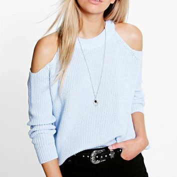 Lois Cold Shoulder Jumper | Boohoo