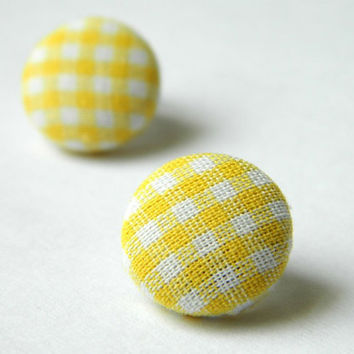 Button Earrings YellowWhite Classic Gingham by PushTheButtons