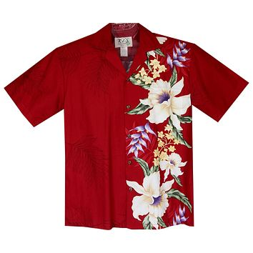 Wild Hibiscus Red Vertical Border Hawaiian Shirt