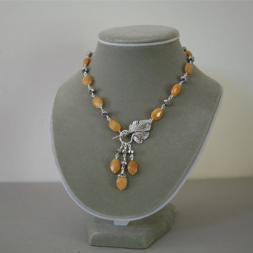 Yellow Butterscotch Faceted Jade and Silver Rhondelle Front Closure Dangling Gemstone Necklace Set/Matching Earrings