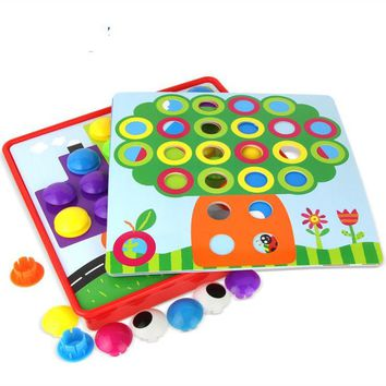 Button Toys for Children 3D Button Puzzles Composite Puzzle Creative Mosaic Mushroom Nail Kit Educational Art Kids Cartoon 30