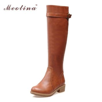 Fashion Online Women Riding Boots Round Toe Chunky Low Heel Motorcycle Boots Shoes Zipper Fashion Buckle Women Boots Brown Yellow Big Size 9 10