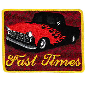 """Awesome Vintage Style 70's Patch """"Fast Times"""" """"Keep on Truckin"""" Custom PIck Up Truck Patch 8.5cm Iron On"""