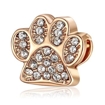 European Charm Paw Prints With Crystal Charms Fit Women Pandora Bracelet