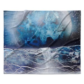 "Infinite Spray Art ""Surreal Falls"" Blue Planet Fleece Throw Blanket"