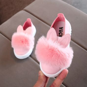 Slip On Kids Shoes Fur Sneakers Anti-Slip