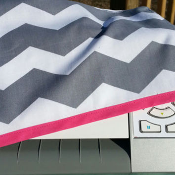 Hot Pink Trimmed Grey and White Chevron Cover - Fits Silhouette Cameo