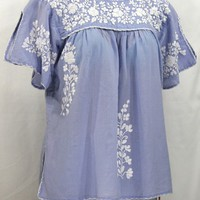"""""""La Lijera"""" Embroidered Peasant Blouse Mexican Style -Periwinkle + White"""