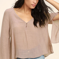 Catch the Light Mauve Long Sleeve Top