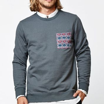 On The Byas Cormac Chest Pocket Crew Neck Sweatshirt - Mens Hoodies - Gray