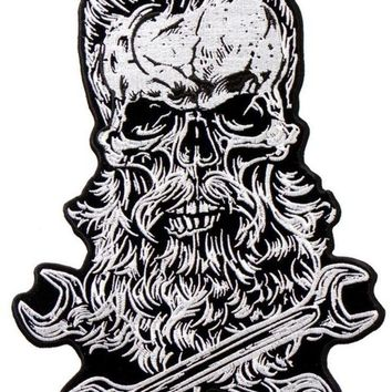 "Spruce Up Your Threads, Bearded Skull, Dons A Spiffy Haircut & Bread With Crossed Wrenches PATCH, 7"" X 10"""