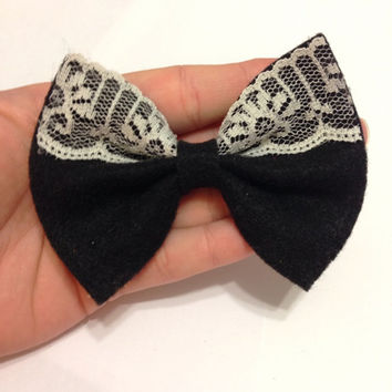 Black Felt Hair Bow with Cream Lace Accent on Alligator Clip - 4 Inches Wide - AFFORDABOW Line - Affordable and High Quality Hair Bows