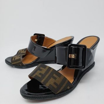 Fendi Black Patent Leather Zucca Monogram Slide Wedges Size EU 40 (Approx. US 10) Regular (M, B) 45% off retail