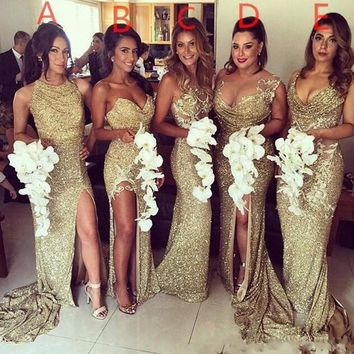 Sparkly Gold Sequin Long Bridesmaid Dresses 2017 Elegant Women Formal Wedding Party Dresses with High Slit Custom Made Liyatt