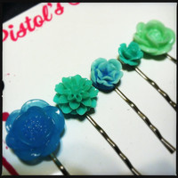 Flower Pin Set Aqua Blue Combo by PistolsPretties on Etsy
